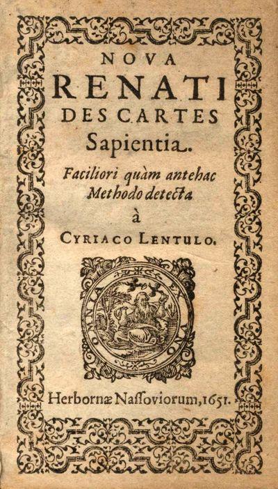 Nova Renati Des Cartes Sapientia...