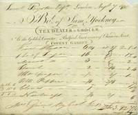 Tea & spice receipt, Samuel Yockney Tea Dealer & Grocer at the Golden Canister, Bedford Street Corner of Chandos Street, (Covent Garden), London, August 7, 1800