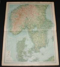 """image of Map of """"Southern Scandinavia & Denmark"""" from 1920 Times Survey Atlas (Plate 42) including Southern Norway and Sweden, Copenhagen, Goteborg, Malmo, Stockholm, Kristiania, Bergen, Krisiansund, Hernosand, etc"""