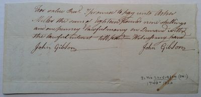 1785. unbound. 1 page, 4 x 8.5 inches, no place, no date, but part of a recently discovered archive ...