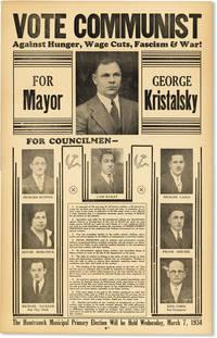 Broadside - Vote Communist Against Hunger, Wage Cuts, Fascism & War! For Mayor - George Kristalsky
