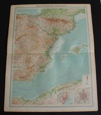 """image of Map of Eastern Spain including the Pyrenees, Andorra and the Balearic Islands from 1920 Times Atlas (Plate 34 """"Spain & Portugal - Eastern Section"""") with inset plans of Barcelona and Madrid"""