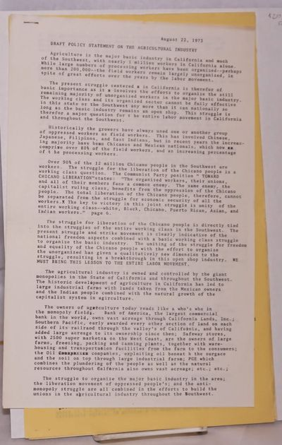 : Northern California District Board, CPUSA, 1972. 8p., mimeographed sheets stapled together at uppe...