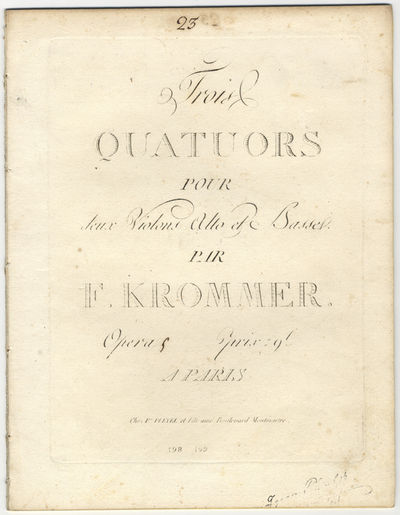 Paris: Ice. Pleyel et Fils aîné , 1828. Folio. Disbound. Violino primo: 1f. (title), (blank), 2-17...