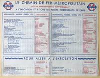1937 Paris Metro Map International Exposition