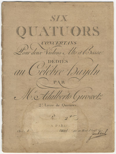 Paris: Imbault , 1789. Folio. Disbound. Violino primo: 1f. (title), (blank), 2-25, (blank) pp.; Viol...