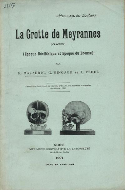 Nimes, France: Imprimerie Coopérative la Laborieuse, 1904. Offprint. Paper wrappers. A very good co...