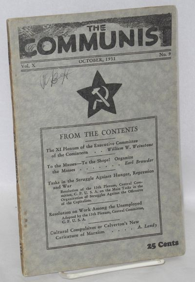 New York: Communist Party, USA, 1931. p. 771-864, wraps mildly worn, ownership initials on front cov...