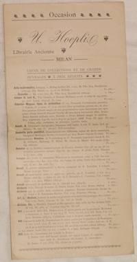 U. HOEPLI LIBRAIRIE ANCIENNE MILAN CHOIX DE COLELCTIONS ET DE GRANDS OUVRAGES A PRIX  REDUITS
