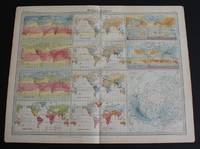 image of World Climate Maps from the 1920 Times Atlas (Plate 3) - single sheet containing 11 small maps depicting World Temperature levels, Rainfall and Pressure and Winds
