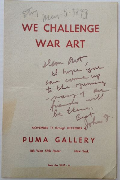 New York, 1943. unbound. 4 pages, 8.5 x 5.5 inches, Puma Gallery, New York, no date, circa 1943. Sig...