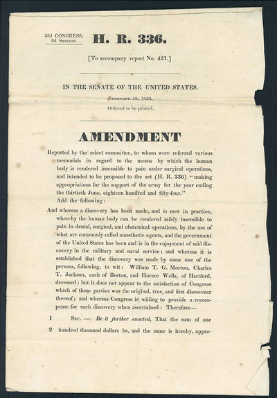 Washington DC, 1853. United States. Senate. 32nd Congress, 2nd Session. H. R. 336 In the Senate of t...