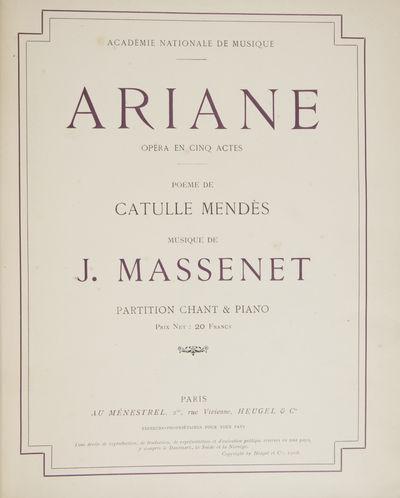 Paris: Au Ménestel... Heugel , 1906. Quarto. Full floral-patterned ivory linen with dark red leathe...