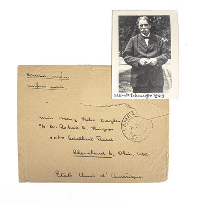 Rare signed photograph of Albert Schweitzer, signed and dated by him,
