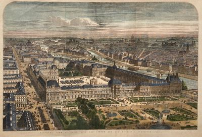 London: London Illustrated News, 1855. unbound. View. Wood engraving with hand coloring. Page measur...
