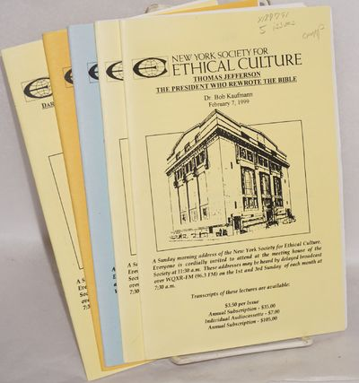 New York: New York Society for Ethical Culture, 1999. Five pamphlets, various pagination, 5.5x8.5 in...