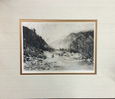 Very Good. Silk photogravure of Yosemite Valley produced in 1888 by Thomas Hill. The print measures ...