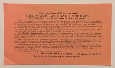 Seattle: Seattle Peace Society, . 3.75x6 inch leaflet, mild corner creases, penciled oval around a m...