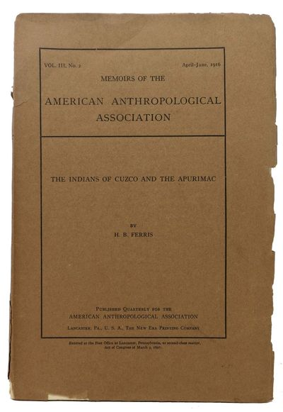 Lancaster, PA: American Anthropological Association, 1916. 1st edition. Brown printed wrappers. VG (...