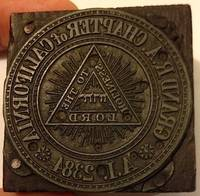 image of Grand R A Chapter of California / AI 2384 [Organizational seal mounted on wooden block for use in a print shop]