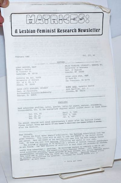 Lincoln, NB: Matrices, 1980. 18p., nine 8.5x14 inch sheets stapled upper-left corner and with horizo...