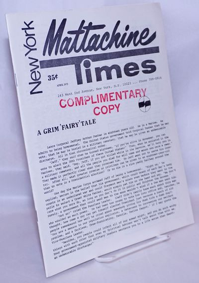 New York: The Mattachine Society, 1972. Magazine. 24p. includes covers, 8.5x11 inches, photos, revie...