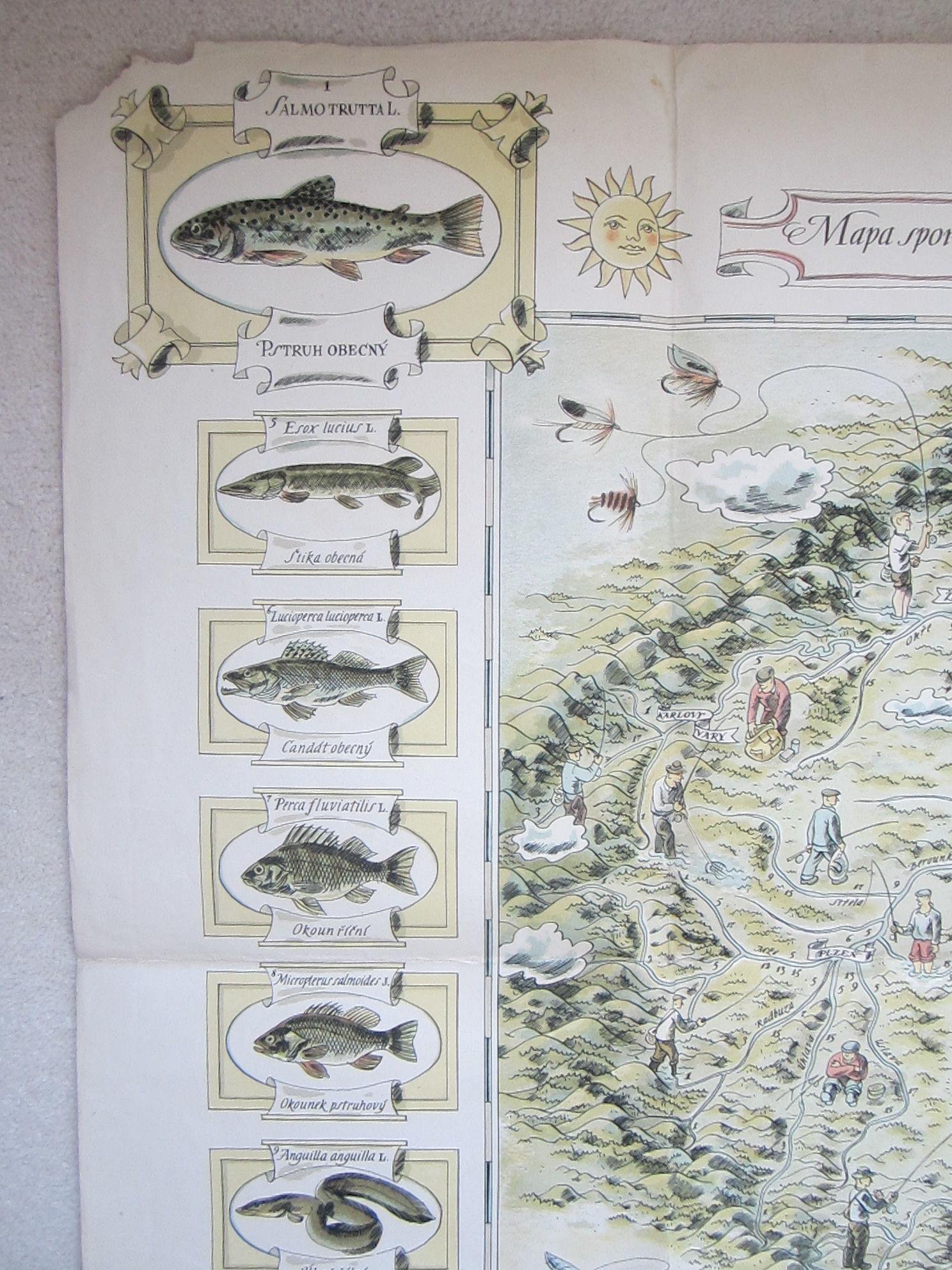 Mapa sportovního rybářství a lovné ryby v českých řekách (The map of sport fishing and game fish in Czech rivers.) (photo 2)