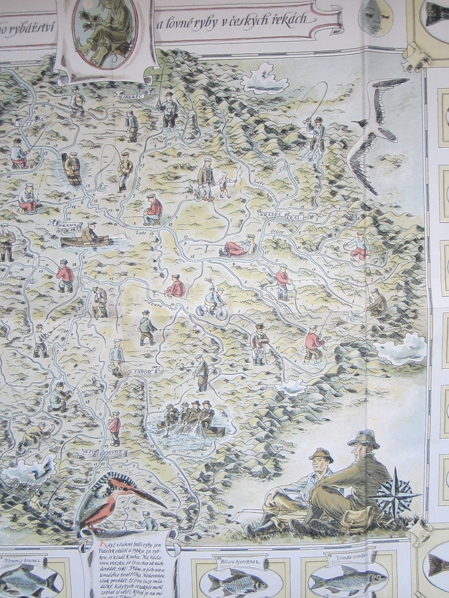 Mapa sportovního rybářství a lovné ryby v českých řekách (The map of sport fishing and game fish in Czech rivers.) (photo 6)