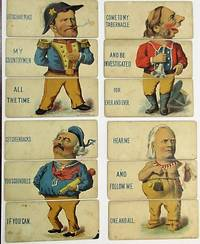 SIX CHILDREN'S CARDS, IN COLOR, EACH DEPICTING A WELL-KNOWN CONTEMPORARY PERSON: ULYSSES S. GRANT, BENJAMIN BUTLER, HENRY WARD BEECHER, JAMES GORDON BENNETT, THOMAS DE WITT TALMAGE, AND AN UNIDENTIFIED AFRICAN-AMERICAN. EACH CARD CUT INTO THREE DISTINCT PARTS [HEAD, TORSO AND LEGS] WITH WORDS NEXT TO EACH SECTION SO THAT PARTS CAN BE MIXED AND MATCHED TO CHANGE PHRASES AND APPEARANCE OF EACH CHARACTER'S BODY