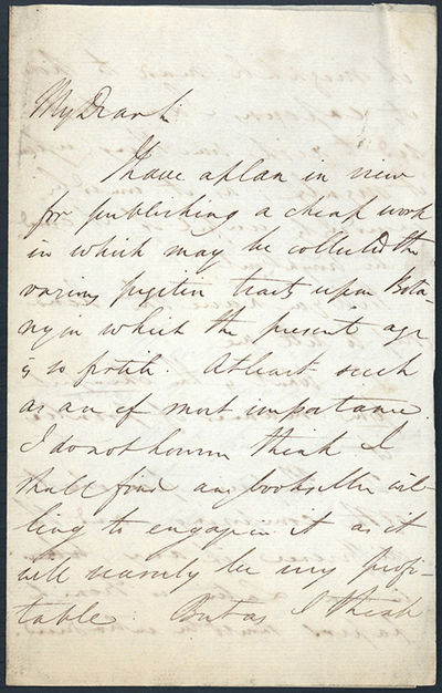 1828. Lindley, John (1799-1865). Autograph letter signed to Richard Taylor (1781-1858). 4pp. N.p., D...