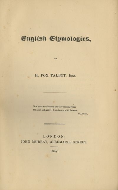 London: John Murray, 1847. First edition. 8vo., vii, 492 pp., with 16 pp. of advertisements dated Ju...