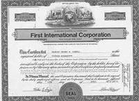Certificate of 400 Fully-paid and Non-assessable Shares of Par Value One Cent Each by First International Corporation - from Alan Wofsy Fine Arts and Biblio.co.uk
