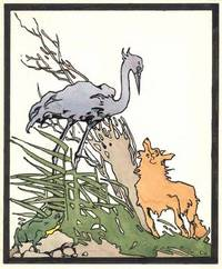 """Original drawings for """"The Fox and the Stork"""