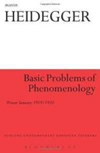 image of Basic Problems of Phenomenology: Winter Semester 1919/1920 (Athlone Contemporary European Thinkers)