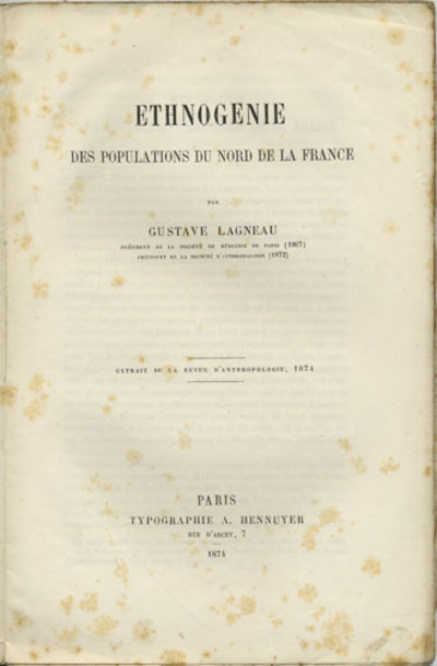 Paris: Typographie A. Hennuyer, 1874. Offprint. Stitched paper wrappers. A very good- copy with scat...