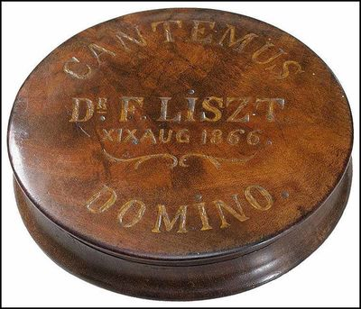 Used; Like New/Used; Like New. Original circular wooden canister, possibly a piano wire case, with i...