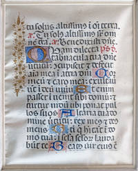 A Finely Illuminated Vellum Manuscript Leaf in Latin, ca. 15th Century. Psalter: Psalm 83