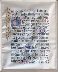 A Finely Illuminated Vellum Manuscript Leaf in Latin, ca. 15th Century.