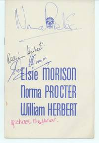image of Programme signed on the front cover (Elsie, b. 1924, Australian Soprano), Norma PROCTER (b. 1928, British Contralto), William HERBERT (b. 1920, Australian Tenor) and Michael MULLINAR (1895-1973, British Pianist and Composer)