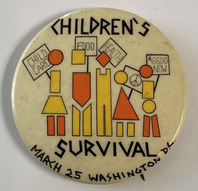 Washington DC: , 1972. 1.75 inch pin, couple small spots. Issued to promote the march opposing Nixon...
