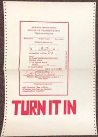 Turn it in [screenprint poster depicting draft card]