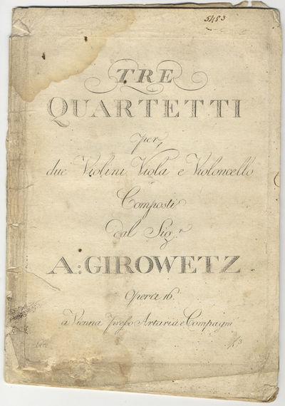 Vienna: Artaria e Compagni , 1796. Folio. Unbound. Violino primo: (title), 2-20 pp.; Violino secondo...