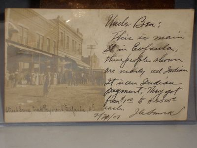 A Photograph of the Indians on Main Street in Eufalia with the Creek Indians, receiving their paymen...