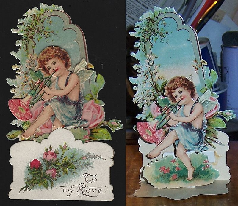 VICTORIAN FOLD OUT VALENTINE WITH DANCING BOY, Valentine