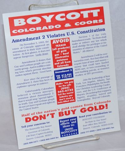 Denver: Boycott Colorado, 1992. Single 7x8.5 inch leaflet printed one side only, red, white and blue...