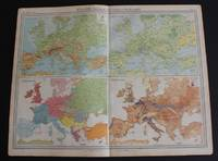 "image of Maps of Europe showing Orography, Vegetation, Ethnography and Population from the 1920 Times Atlas (Plate 11 ""Europe - Physical Features & Population"") - single sheet containing 4 maps"