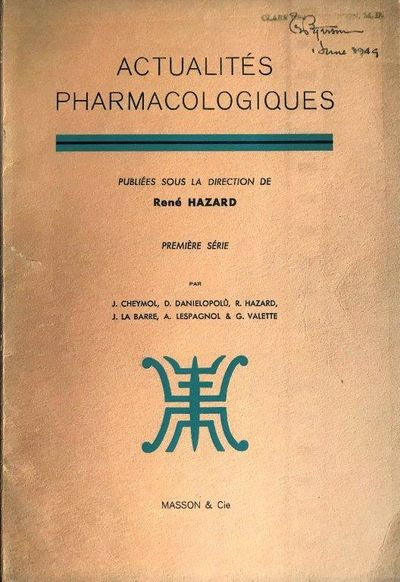 Paris:: Masson, 1949., 1949. 8vo. vi, 161, pp. Text figs. Previous owner's inked signatures and rubb...