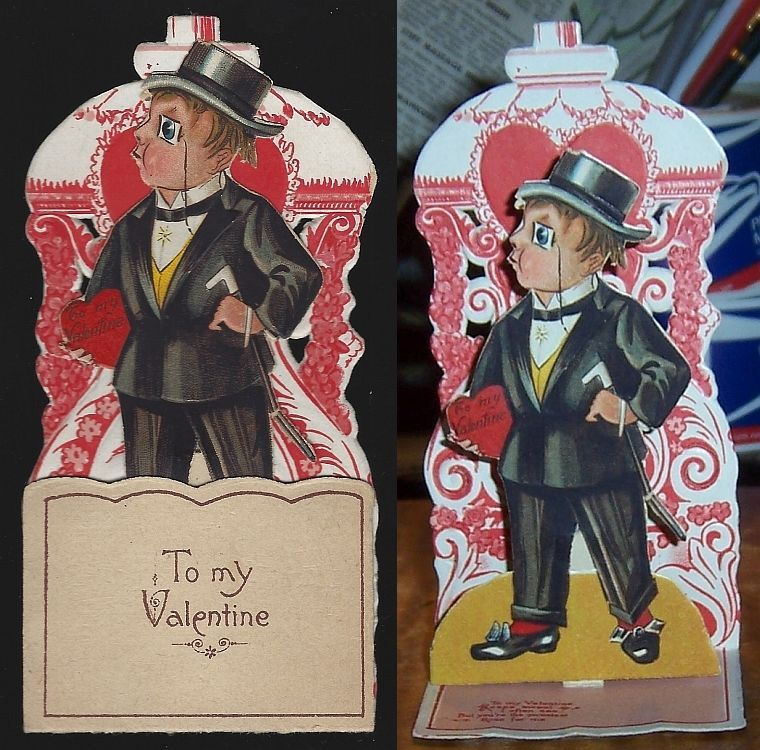 VICTORIAN FOLD OUT VALENTINE WITH MAN DRESSED IN A TUXEDO, Valentine