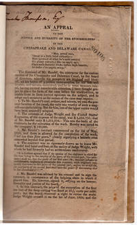 [drop title] An appeal to the justice and humanity of the stockholders of the Chesapeake and Delaware Canal.