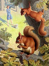 Squirrels in a tree with a girl and dog below